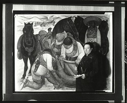 "Diego Rivera at work on ""Liberation of the Peon,"" New York, 1931 [photograph] / (photographed by Peter A. Juley & Son)"