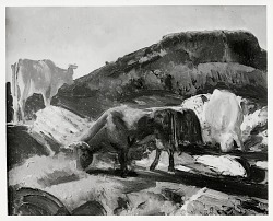 Bull and Cows [painting] / (photographed by Peter A. Juley & Son)