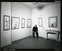 View of Abraham Walkowitz exhibition installation with artist [photograph] / (photographed by Peter A. Juley & Son)