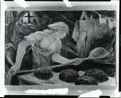 (No Title Given: Woman Baking Bread) [painting] / (photographed by Peter A. Juley & Son)