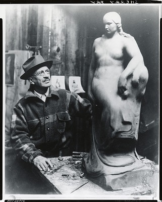 Sherry Edmundson Fry in his studio [photograph] / (photographed by Peter A. Juley & Son)