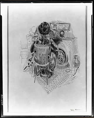 No Title Given: Woman Sitting in Living Room [drawing] / (photographed by Peter A. Juley & Son)