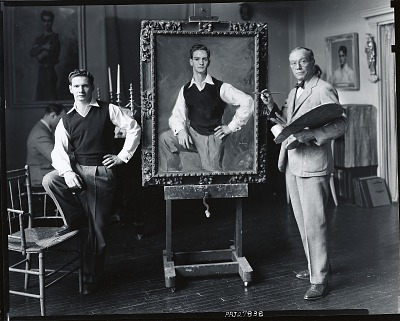 Jere R. Wickwire in his studio with sitter [photograph] / (photographed by Peter A. Juley & Son)