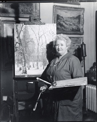 Nell Boardman at work in her studio [photograph] / (photographed by Peter A. Juley & Son)