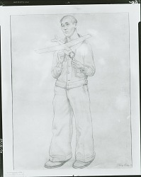 Untitled (Young man with model airplane), [drawing] / (photographed by Peter A. Juley & Son)