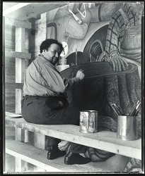 "Diego Rivera at work on ""Allegory of California,"" San Francisco Stock Exchange Luncheon Club, 1931 [photograph] / (photographed by Peter A. Juley & Son)"