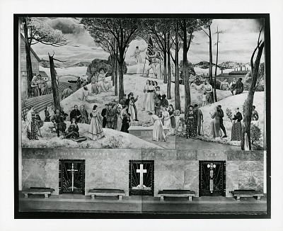 Worcester Memorial Auditorium Mural, Main Wall [painting] / (photographed by Peter A. Juley & Son)