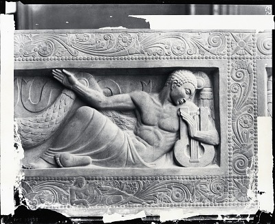 Model for John Pierpont Morgan Memorial (central tablet detail- Music) [sculpture] / (photographed by Peter A. Juley & Son)