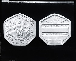 Model for the National Association of Women Painters and Sculptors Medal (obverse and reverse) [sculpture] / (photographed by Peter A. Juley & Son)