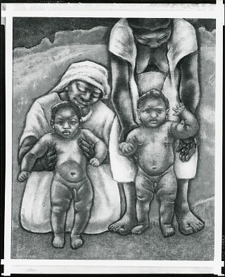 Haitian Mothers and Children [painting] / (photographed by Peter A. Juley & Son)