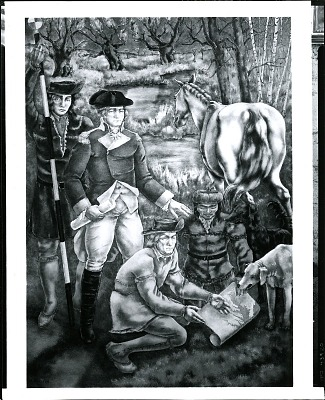 George Washington with De Witt, Geographer of the Revolutionary Army [fresco] / (photographed by Peter A. Juley & Son)
