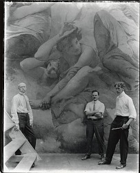 "Edwin Howland Blashfield (left) with his assistants Vincent Aderente (center) and Alonzo E. Foringer (right) standing in front of ""Wisconsin"" (Wisconsin State Capitol dome crown) at the Vanderbilt Gallery, New York [photograph] / (photographed by Peter A. Juley & Son)"