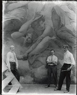 Edwin Howland Blashfield (left) with his assistants Vincent Aderente (center) and Alonzo E. Foringer (right) standing in front of