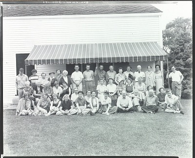 Robert Brackman with summer school class at Noank, Connecticut, 1953 [photograph] / (photographed by Peter A. Juley & Son)