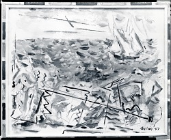Movement: Boats and Objects, Blue Grey Sea [painting] / (photographed by Peter A. Juley & Son)
