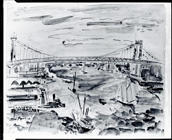Manhattan Bridge and East River, Movement [painting] / (photographed by Peter A. Juley & Son)