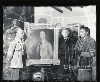 Alexander Benjamin Clayton in his studio with two unidentified women [photograph] / (photographed by Peter A. Juley & Son)