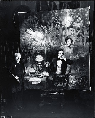 Howard Chandler Christy in his studio at work on a painting for the Stephen Foster Memorial [photograph] / (photographed by Peter A. Juley & Son)