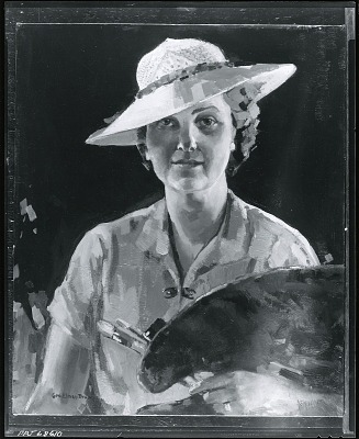 An Artist with Her Palette [painting] / (photographed by Peter A. Juley & Son)