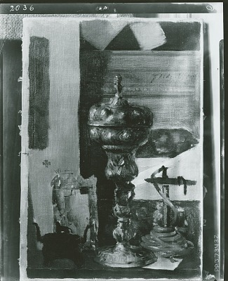 Still Life (Silver Chalice, Japanese Bronze, and Red Taper) [painting] / (photographed by Peter A. Juley & Son)