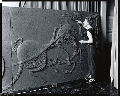 Wilma Prezzi at work in her studio [photograph] / (photographed by Peter A. Juley & Son)