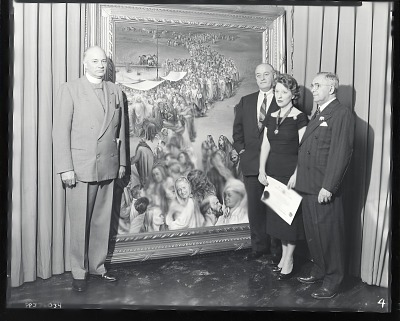 Wilma Prezzi receiving an honorary fellowship to the American International Academy [photograph] / (photographed by Peter A. Juley & Son)