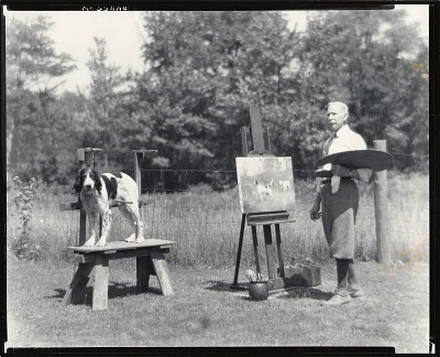 Percival L. Rosseau at work outdoors, Lyme, Connecticut [photograph] / (photographed by Peter A. Juley & Son)