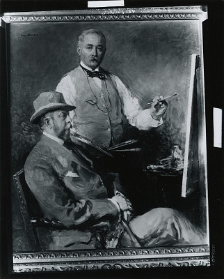 In the Studio (Gari Melchers and Hugo Reisinger) [painting] / (photographed by Peter A. Juley & Son)