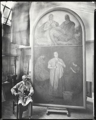 William Starkweather in his studio seated before