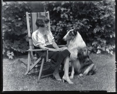 Eugenie McEvoy with dog [photograph] / (photographed by Peter A. Juley & Son)