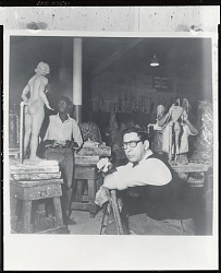 Nathaniel Kaz teaching at the Art Students League, New York [photograph] / (photographed by Peter A. Juley & Son)