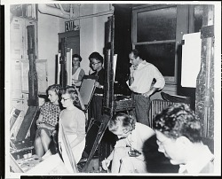 Yasuo Kuniyoshi teaching at the Art Students League, New York [photograph] / (photographed by Peter A. Juley & Son)