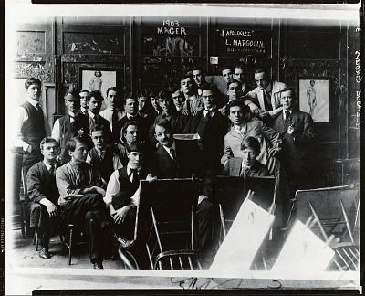 Frank Vincent DuMond with his class at the Art Students League, New York [photograph] / (photographed by Peter A. Juley & Son)