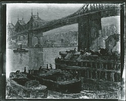 Queensborough Bridge- East River Scene [painting] / (photographed by Peter A. Juley & Son)