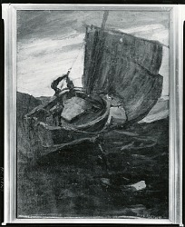Hoisting Sail [painting] / (photographed by Peter A. Juley & Son)