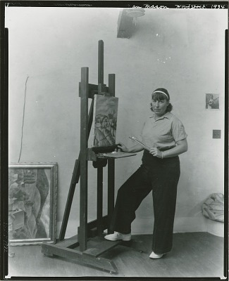 Nan Mason at work in her studio, Woodstock, New York, 1934 [photograph] / (photographed by Peter A. Juley & Son)