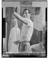 Self-Portrait at Easel [painting] / (photographed by Walter Rosenblum)