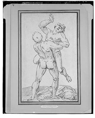 Hercules Wrestling with Anteus, [drawing] / (photographed by Walter Rosenblum)
