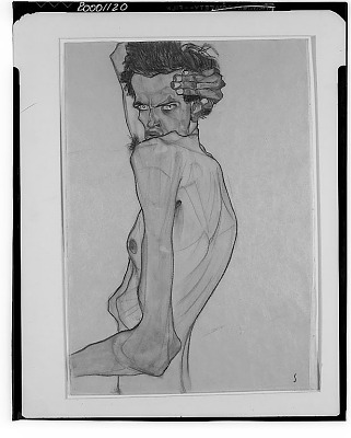 Self-Portrait with Arm Twisted above Head [drawing] / (photographed by Walter Rosenblum)