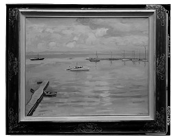 Boats at Dock [painting] / (photographed by Walter Rosenblum)