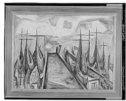 Boats at the Dock [painting] / (photographed by Walter Rosenblum)