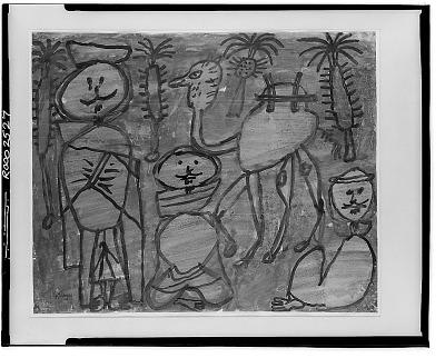 Trois Arabes et Chameau [painting] / (photographed by Walter Rosenblum)