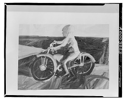 Motorcycle and Rider [painting] / (photographed by Walter Rosenblum)