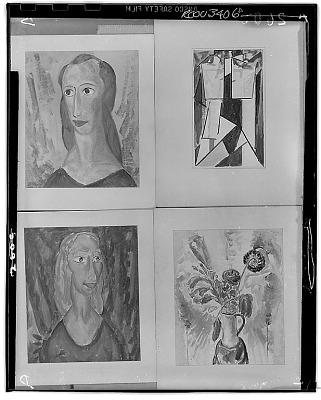 Four Paintings: Portrait of a Woman (upper left) [painting] / (photographed by Walter Rosenblum)