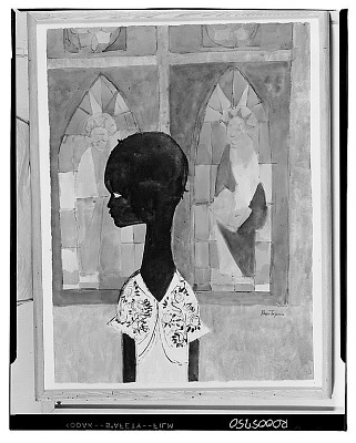 Girl and Stained Glass Windows [painting] / (photographed by Walter Rosenblum)