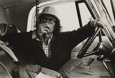 Running Fence, Sonoma and Marin Counties, California, 1972-76, Christo on intercom in cab of truck
