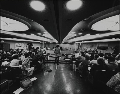 Running Fence, Sonoma and Marin Counties, California, 1972-76, Christo testifies before the North Central Regional Division of the California Coastal Zone Conservation Commission at teh San Raphael Civic Center