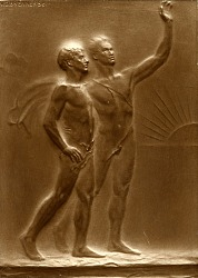 Carl Schurz Plaque (reverse): The Immigrant Led by America [sculpture] / (photographed by A. B. Bogart)