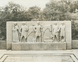 The First Permanent Settlement of the West [sculpture] / (photographed by De Witt Ward)
