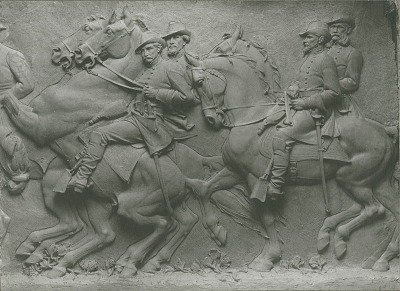 Model for Stone Mountain Confederate Memorial (detail) [sculpture] / (photographed by De Witt Ward)